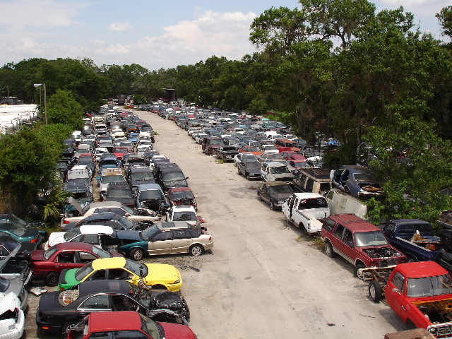 A view of the salvage yard at Allen's Used Auto Parts