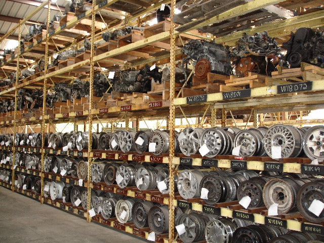 Inside our warehouse: a view of our many available used wheels