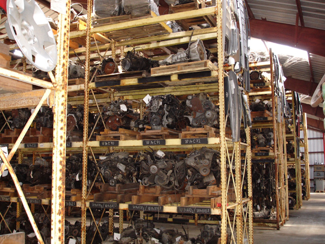 Inside our warehouse: a view of our many available used transmissions