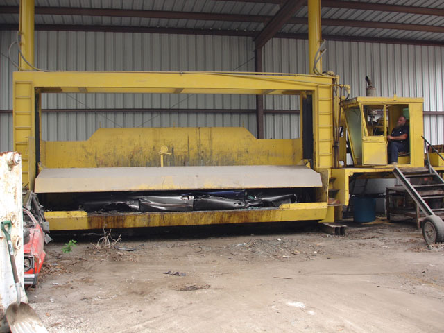 Our car crusher exerts over 150 tons of pressure, crushing the junk car into a compact size perfect for transportation