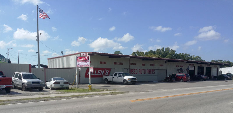 Street view of Allen's Used Auto Parts in Tampa, FL